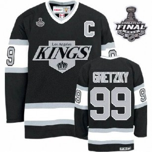 CCM Los Angeles Kings #99 Wayne Gretzky Premier Black Throwback With 2014 Stanley Cup Finals Jersey For Sale Size 48/M|50/L|52/XL|54/XXL|56/XXXL
