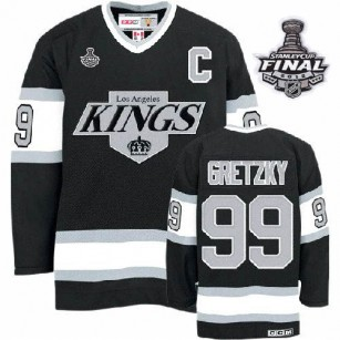 Youth CCM Los Angeles Kings #99 Wayne Gretzky Premier Black Throwback With 2014 Stanley Cup Finals Jersey For Sale Size Small/Mediun|Large/Extra Large