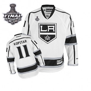 Reebok Los Angeles Kings #11 Anze Kopitar White Road Authentic With 2014 Stanley Cup Finals Jersey  For Sale Size 48/M|50/L|52/XL|54/XXL|56/XXXL
