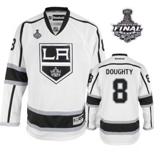 Reebok Los Angeles Kings #8 Drew Doughty White Road Premier With 2014 Stanley Cup Jersey  For Sale Size 48/M|50/L|52/XL|54/XXL|56/XXXL