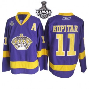 Reebok Los Angeles Kings #11 Anze Kopitar Purple Authentic With 2014 Stanley Cup Jersey  For Sale Size 48/M|50/L|52/XL|54/XXL|56/XXXL