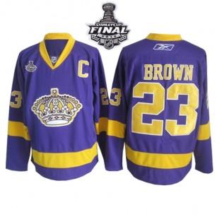 Reebok Los Angeles Kings #23 Dustin Brown Purple Premier With 2014 Stanley Cup Jersey  For Sale Size 48/M|50/L|52/XL|54/XXL|56/XXXL