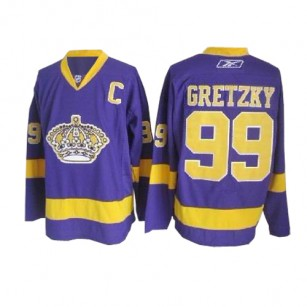 Reebok Los Angeles Kings #99 Wayne Gretzky Purple Premier Jersey  For Sale Size 48/M|50/L|52/XL|54/XXL|56/XXXL