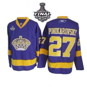 Reebok Los Angeles Kings #27 Alexei Ponikarovsky Purple Authentic With 2014 Stanley Cup Jersey  For Sale Size 48/M|50/L|52/XL|54/XXL|56/XXXL