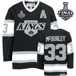 Marty Mcsorley Authentic Throwback Black With 2014 Stanley Cup Jersey - CCM LA Kings #33 Clothing