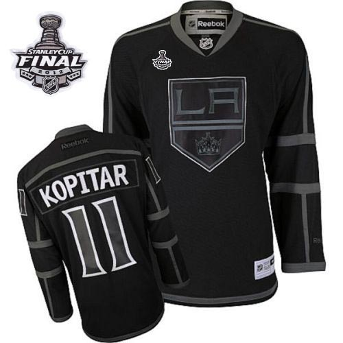 5929e0d04 Reebok Los Angeles Kings 11 Anze Kopitar Black Ice Authentic With 2014  Stanley Cup Finals Jersey ...
