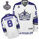 Reebok Los Angeles Kings #8 Drew Doughty White Third Authentic With 2014 Stanley Cup Finals Jersey For Sale Size 48/M|50/L|52/XL|54/XXL|56/XXXL
