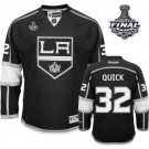 Reebok Los Angeles Kings #32 Jonathan Quick Black Home Premier With 2014 Stanley Cup Finals Jersey  For Sale Size 48/M|50/L|52/XL|54/XXL|56/XXXL