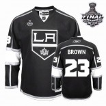 Reebok Los Angeles Kings #23 Dustin Brown Authentic Black Home With 2014 Stanley Cup Finals Jersey For Sale Size 48/M 50/L 52/XL 54/XXL 56/XXXL
