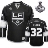 Reebok Los Angeles Kings #32 Jonathan Quick Black Home Authentic With 2014 Stanley Cup Finals Jersey  For Sale Size 48/M|50/L|52/XL|54/XXL|56/XXXL