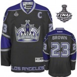 Reebok Los Angeles Kings #23 Dustin Brown Black Third Authentic With 2014 Stanley Cup Finals Jersey  For Sale Size 48/M|50/L|52/XL|54/XXL|56/XXXL