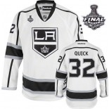 Reebok Los Angeles Kings #32 Jonathan Quick White Road Premier With 2014 Stanley Cup Finals Jersey  For Sale Size 48/M|50/L|52/XL|54/XXL|56/XXXL