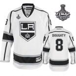 Reebok Los Angeles Kings #8 Drew Doughty White Road Premier With 2014 Stanley Cup Jersey  For Sale Size 48/M|50/L|52/XL|54/XXL|56/XXXL