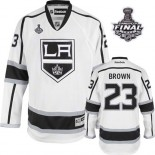 Reebok Los Angeles Kings #23 Dustin Brown White Road Authentic With 2014 Stanley Cup Jersey