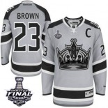 Dustin Brown Authentic Gray 2014 Stadium Series With 2014 Stanley Cup Jersey - Los Angeles Kings #23 Clothing
