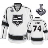 Dwight King Authentic Away White With 2014 Stanley Cup Jersey - Los Angeles Kings #74 Clothing