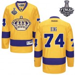 Dwight King Premier Third Gold With 2014 Stanley Cup Jersey - Los Angeles Kings #74 Clothing