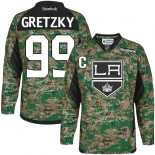 Youth Los Angeles Kings #99 Wayne Gretzky Camo Premier Veterans Day Practice Jersey Cheap Online S|M|L|XLLarge