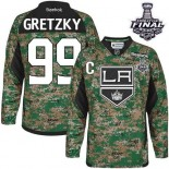 Youth Los Angeles Kings #99 Wayne Gretzky Camo Premier Veterans Day Practice Stanley Cup Jersey Cheap Online S|M|L|XLLarge