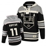 Youth Old Time Hockey Los Angeles Kings #11 Anze Kopitar Black Authentic Sawyer Hooded Sweatshirt Jersey Cheap Online S|M|L|XLLarge