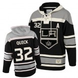 Youth Old Time Hockey Los Angeles Kings #32 Jonathan Quick Black Authentic Sawyer Hooded Sweatshirt Jersey Cheap Online S|M|L|XLLarge