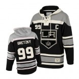 Youth Old Time Hockey Los Angeles Kings #99 Wayne Gretzky Black Authentic Sawyer Hooded Sweatshirt Jersey Cheap Online S|M|L|XLLarge