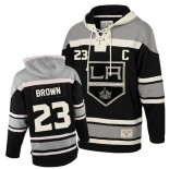 Youth Old Time Hockey Los Angeles Kings #23 Dustin Brown Black Authentic Sawyer Hooded Sweatshirt Jersey Cheap Online S|M|L|XLLarge