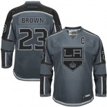 Dustin Brown Authentic Charcoal Cross Check Fashion Jersey - Los Angeles Kings #23 Clothing