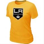 Los Angeles Kings Team Logo Yellow Women T-Shirt Jersey Cheap For Sale