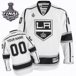 Reebok Los Angeles Kings Customized White Road Authentic With 2014 Stanley Cup Finals Jersey For Sale Size 48/M|50/L|52/XL|54/XXL|56/XXXL
