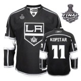 Reebok Los Angeles Kings #11 Anze Kopitar Authentic Black Home With 2014 Stanley Cup Finals Jersey For Sale Size 48/M|50/L|52/XL|54/XXL|56/XXXL