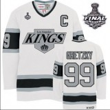 CCM Los Angeles Kings #99 Wayne Gretzky Authentic White Throwback With 2014 Stanley Cup Finals Jersey For Sale Size 48/M|50/L|52/XL|54/XXL|56/XXXL