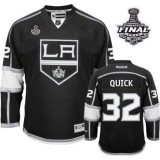 Youth Reebok Los Angeles Kings #32 Jonathan Quick Black Home Premier With 2014 Stanley Cup Finals Jersey  For Sale Size Small/Mediun|Large/Extra Large