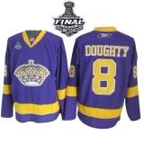Reebok Los Angeles Kings #8 Drew Doughty Purple Premier With 2014 Stanley Cup Jersey