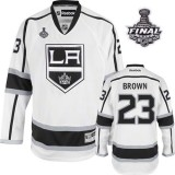 Reebok Los Angeles Kings #23 Dustin Brown White Road Authentic With 2014 Stanley Cup Jersey  For Sale Size 48/M|50/L|52/XL|54/XXL|56/XXXL